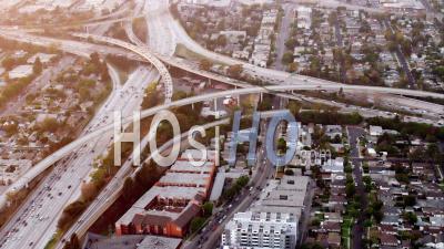 Vue Aérienne De L'intersection De L'autoroute Interstate 405 Et Interstate 10