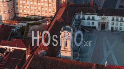 Aerial View Of Coimbra, Tower Of University Of Coimbra, Portugal - Video Drone Footage