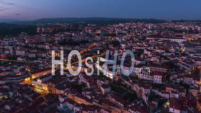 Establishing Aerial View Of Coimbra At Night, Coimbra Skyline, Portugal - Video Drone Footage