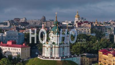 Aerial View Of Kiev (kyiv), St. Andrew's Church, Kiev Skyline, Ukraine - Video Drone Footage