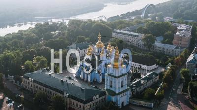 Aerial View Of Kiev (kyiv), St. Michael's Monastery, Kiev Skyline, Ukraine - Video Drone Footage