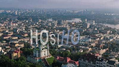Aerial View Of Kiev (kyiv), St. Andrew's Church, Kiev Skyline, Ukraine - Video Drone Footage