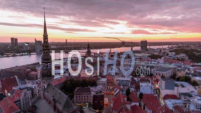 Vue Aérienne Générale De Riga, Riga Skyline, Lettonie - Vidéo Drone
