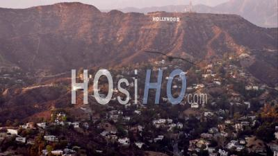 Aerial View World-Famous Hollywood Sign And Eastern Hollywood Hills