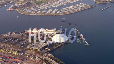 Aerial View Coastal City And Marina With Docked Rms Queen Mary Ship