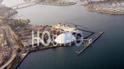 Aerial View Rms Queen Mary Ship Docked At Long Beach