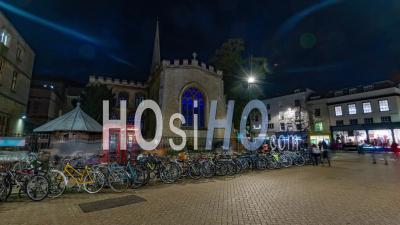 Cambridge, Nuit, Personnes, Stationnement, Vélos