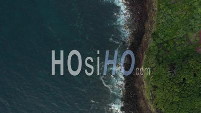 Cliffs And Ocean Limit On Pico Island In Azores - Video Drone Footage