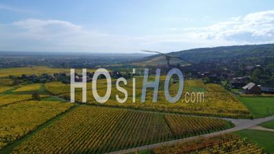 Alsacian Village Surrounded By Vineyards, Alsace, France - Drone Point Of View