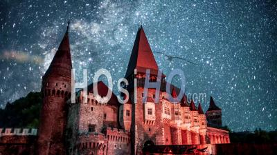 Time Lapse Of Corvin Castle At Night