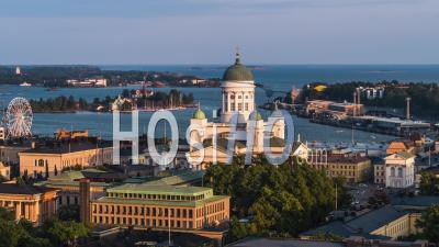 Establishing Aerial View Of Helsinki, Helsinki Cathedral, Finland - Video Drone Footage