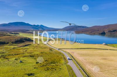 Aerial View Over Kyle Of Durness And In Scotland - Aerial Photography