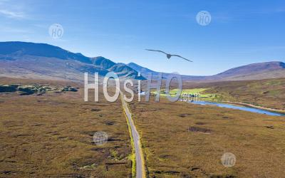 Aerial View Over Scenic Highlands In Scotland - Aerial Photography