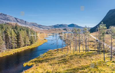 Aerial View Over Scenic Landscape In Scotland - Aerial Photography