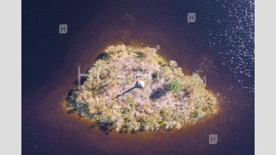 Aerial View Over Loch Stack Island In Scotland - Aerial Photography