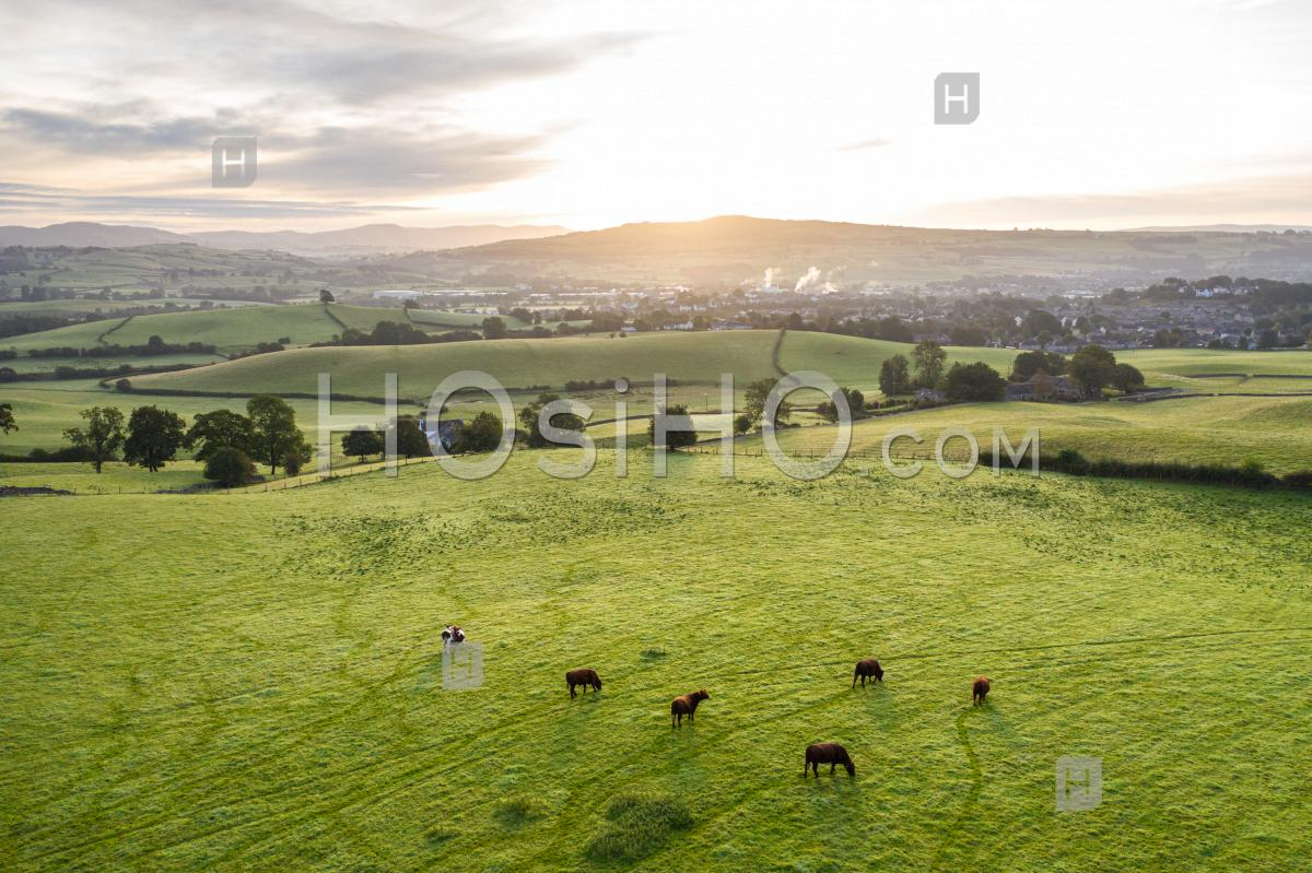 Aerial View Over Scenic Countryside In Uk - Aerial Photography