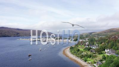 Drone Shoot Over Coastal Village In North West Scotland