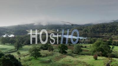 Lake District National Park Landscape At Sunrise - Video Drone Footage