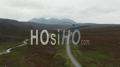 Aerial View Over A832 Road In Scotland - Video Drone Footage