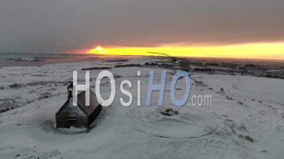 Snow In Bretagne In Monts D'arree At Sunrise - Video Drone Footage