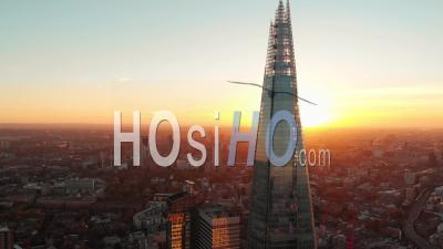 The Shard And Tower Bridge In London, At Sunset - Video Drone Footage