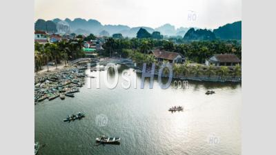 Aerial Panoramic View With Rowing Boats At Bich Dong , Tam Coc - Aerial Photography