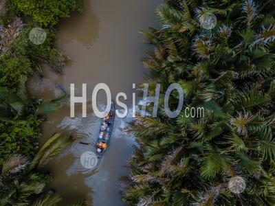 Aerial View From Above With Drone , Of Boat On The Mekong Delta , Vietnam - Aerial Photography