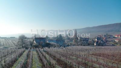 Frozen Vineyards And Alsacian Village, Alsace, France - Video Drone Footage