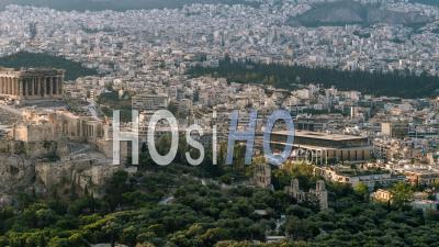 Aerial View Shot Of Athens Parthenon Acropolis Greece Ancient Cecropia Erechtheion And Temple Of Athena Nike - Video Drone Footage