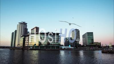 Timelapse On Manchester, City Skyline Media City Modern Part