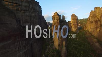 Aerial View Over The Rock Formations Of Meteora, Greece - Video Drone Footage
