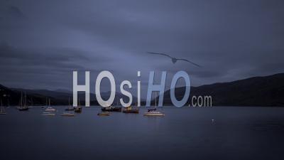 Ullapool Bay Boats At Night In Scotland