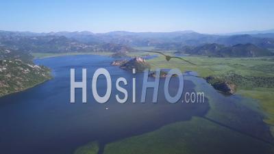 Montenegro Skadar Lake. High Elevation Video Drone Footage
