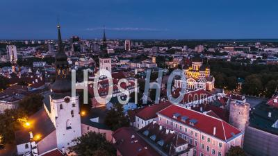 Tallinn Establishing Aerial Shot View Of Tallinn Skyline Estonia Night Evening Sunset - Drone Point Of View