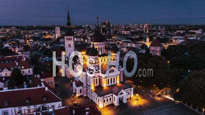 Alexander Nevsky Cathedral In Tallinn Estonia At Dusk - Video Drone Footage