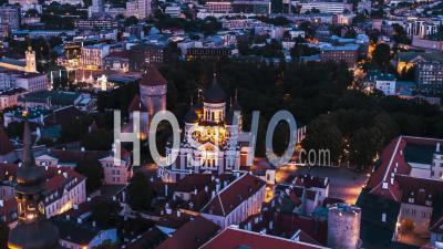 Tallinn Establishing Aerial View Shot Alexander Nevsky Cathedral Estonia Evening Night Sunset - Drone Point Of View