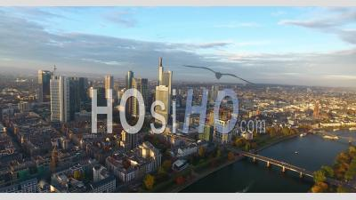 Aerial View Of Frankfurt On Sunset - Drone Point Of View