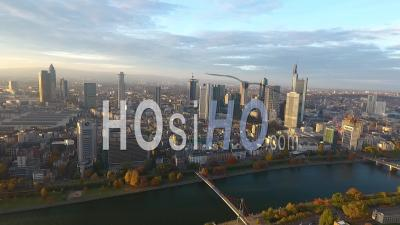 Aerial View Of Frankfurt On A Sunset - Video Drone Footage