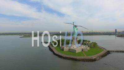Statue Of Liberty On Ellis Island, Nyc - Video Drone Footage