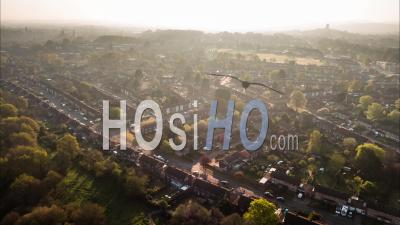 Aerial View Of Classic British Housing Estate, English Houses And Homes From Above - Drone Point Of View