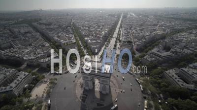 The Arc De Triomphe, Paris, France - Video Drone Footage