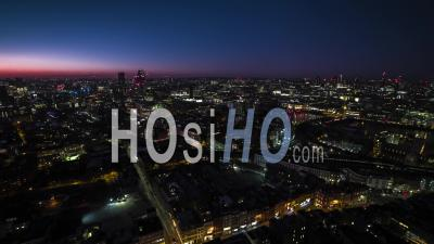 London Waterloo Station Skyline London Eye Bt Tower St Pauls United Kingdom At Night Evening - Drone Point Of View
