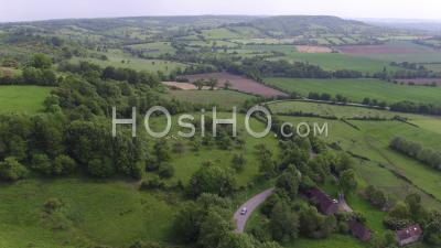 Point De Vue De Drone Autour Du Bocage Normand, Le Billot, Calvados, Normandie, France