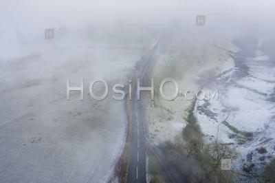 Frosty Countryside Fields In Uk - Aerial Photography