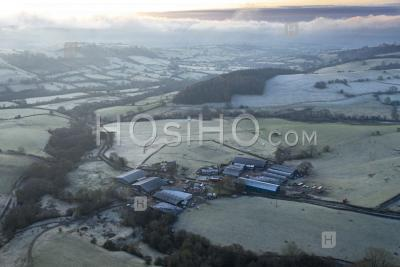 Frosty British Countryside Fields At Sunrise - Aerial Photography