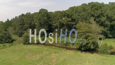 French Hedgerow In Summer - Drone Point Of View