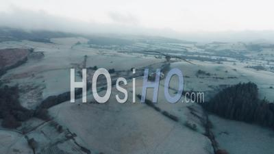 Frosty British Countryside Fields - Drone Point Of View