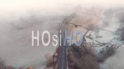 Frosty Fog Over Rural Britain At Autumn - Drone Point Of View