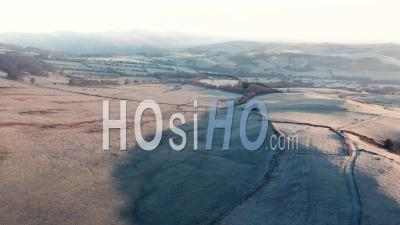 Scenic British Countryside At Frosty Sunrise - Drone Point Of View