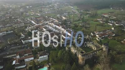 Aerial View Of Villandraut Medieval Fortified Castle In Winter - Aerial Video By Drone